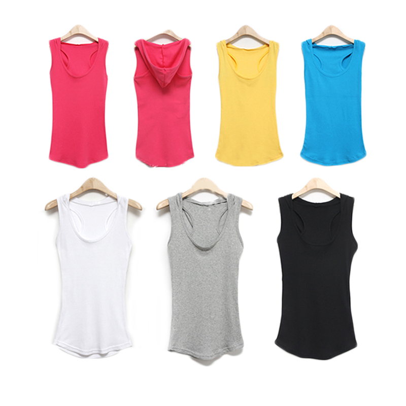 High quality soft fitness girl vest, custom logo blank women yoga sleeveless shirts with hooded
