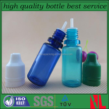 10ml pet plastic blue dropper bottle with childproof tamper-evident top
