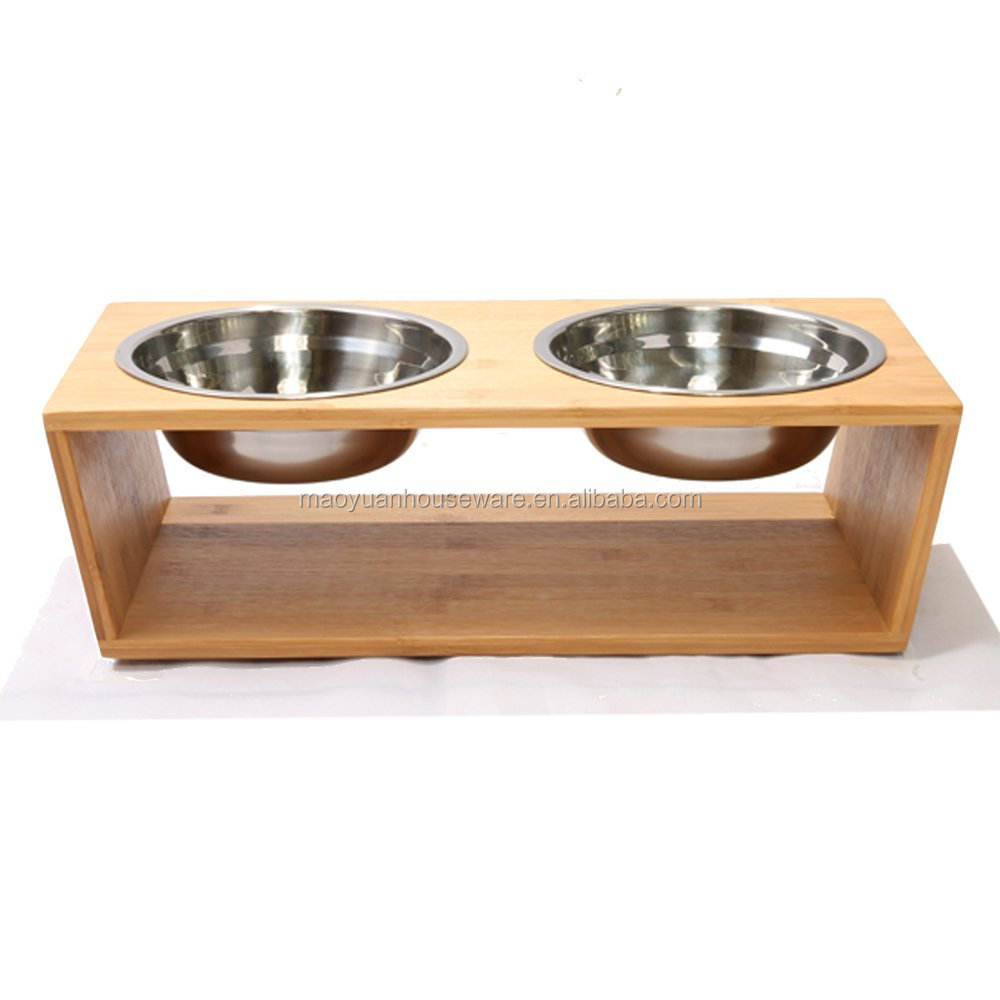 surdy bamboo elevated pet dog feeder with metal bowl