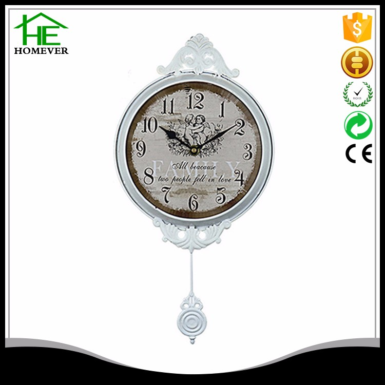white metal beautiful angel sway wall clock for child