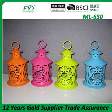 Colorful spring mini table hanging round metal candle lantern without glass panels ML-630
