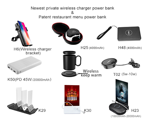 Restaurant power  table pc charging station menu holder four USB ports cafe power bank and security lock