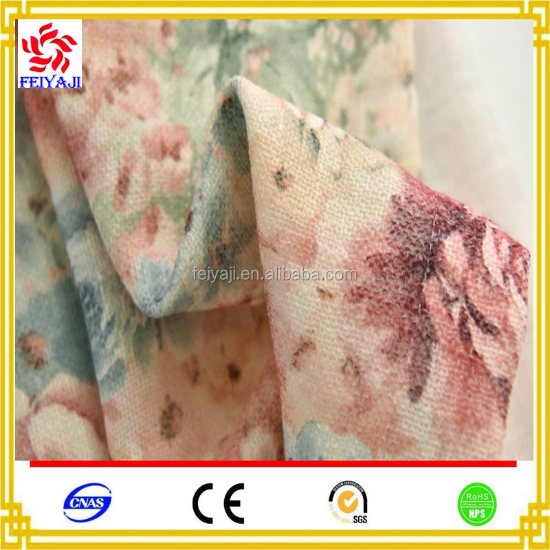 Wholesale New Design Japan Style Digital Print Linen Oem Curtain Fabric