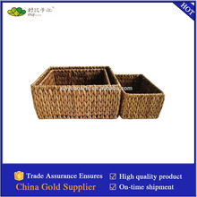 honey color woven rush storage basket