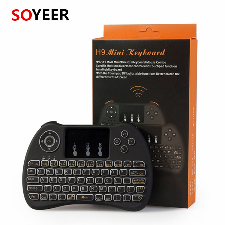 Soyeer Best price H9 backlit air mouse 2.4G Wireless mini wireless keyboard 2.4g with touchpad OEM remote control