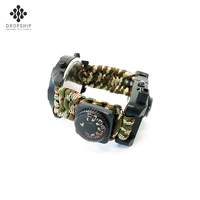 Dropship DS-SG1011 camping equipment survival watch bangle wrist climbing rope bracelet with thermometer