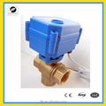 "3 Way CWX-15N reduced port DN15 1/2"" Brass both female BSP T type DC5V CR01 3 way Electric Ball Valve for water"