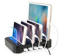 4 Ports Desktop USB Charger Multi-Function USB Charging Station Dock with Stand EU US AU UK Plug for Mobile Phone Tablet PC