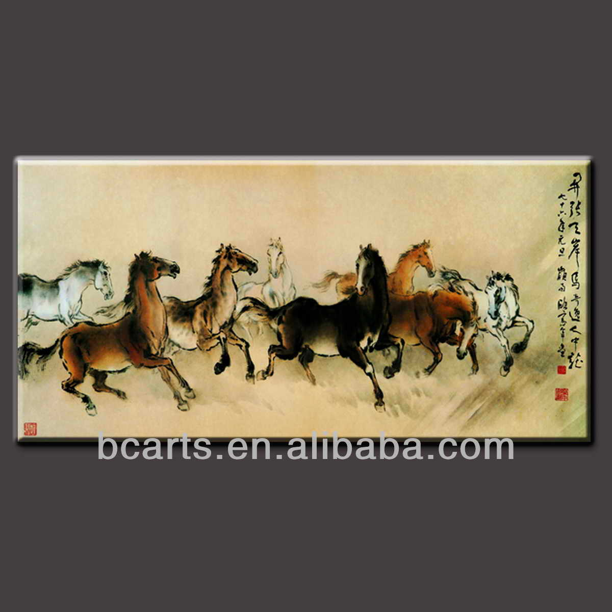 Chinese style eight running horses oil painting wall decoration handmade paintings
