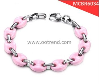 High technology pink ceramic bracelets for woman of high quality jewelry ,fashion quality bracelets of ceramic