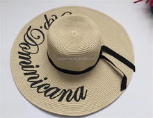 Fashion Women's Bold Cursive Embroidered Adjustable Beach Floppy Sun protection wide brim paper straw ladies Hat