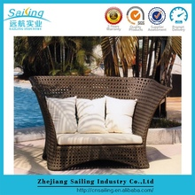 Classic Design Rattan Daybed Handmake Garden Sun Lounger Furniture With Canopy