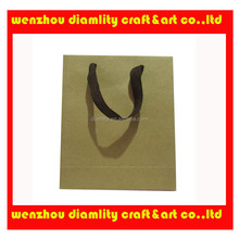 2016 new durable kraft paper shopping bags with cotton handles