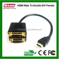 HDMI Y Splitter HDMI A male to Double DVI Female adapter