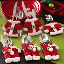Christmas Decoration For Home Silverware Holder Santa Pockets Dinner Knife Fork Holders