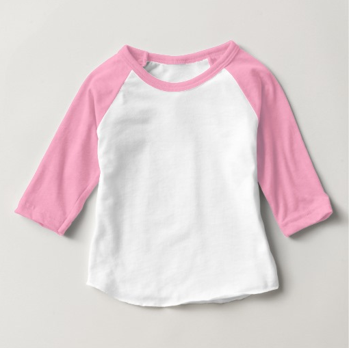 Baby American Apparel Pink and White Baby 3/4 Sleeve Raglan Tee Shirt