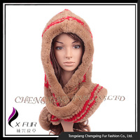 CX-C-194A Rex Rabbit Fur Knitted Hat Scarf Attached
