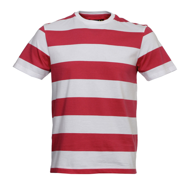Wholesale Engineer Stripe T-Shirt,White And Red Combination T-Shirt