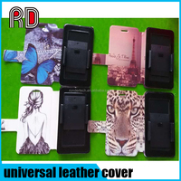 OEM Colorful pattern Slider universal pu leather flip wallet credit card smart phone cover case with clip