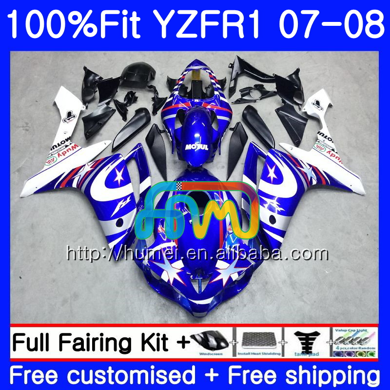 Injection Bodys For YAMAHA YZF blue white 1000 R 1 YZF <strong>R1</strong> 07 08 90HM2 YZF1000 YZFR1 07 08 YZF-1000 YZF-<strong>R1</strong> <strong>2007</strong> 2008 Fairing