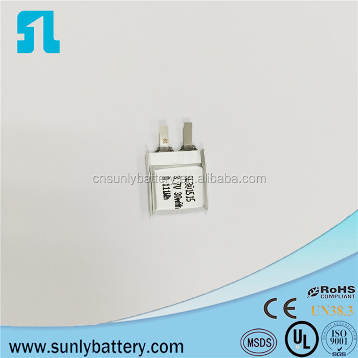 SL 301515 3.7V small rechargeable lithium polymer battery 30mah for bluetooth headset
