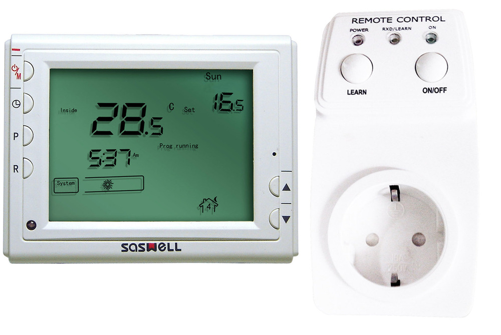 2015 saswell large LCD 7days programmable wireless  thermostat with Germany socket 868MHZ