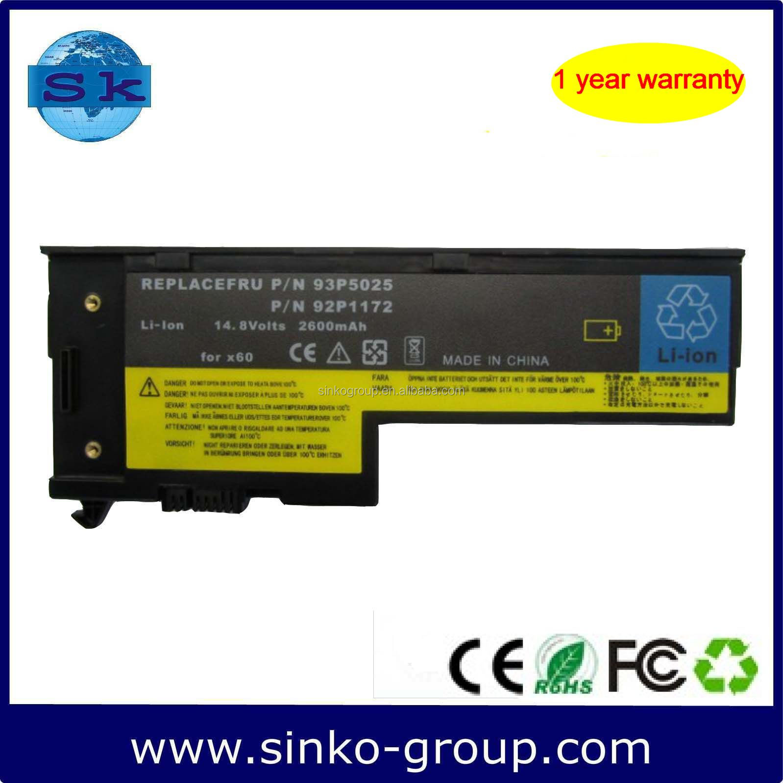 2600mAh 14.8V Battery Laptop for Lenovo IBM Thinkpad X60 X61 Series