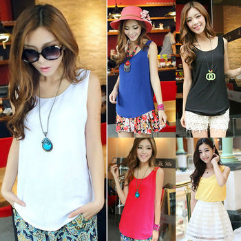 2015 fashion women chiffon sleeveless wholesale t shirts made in china SV001823