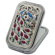 Antique Rectangle Peacock Metal Compact Makeup Mirror