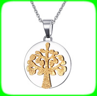 Halloween decorations 18k gold jewelry tree of life stainless steel pendant necklace