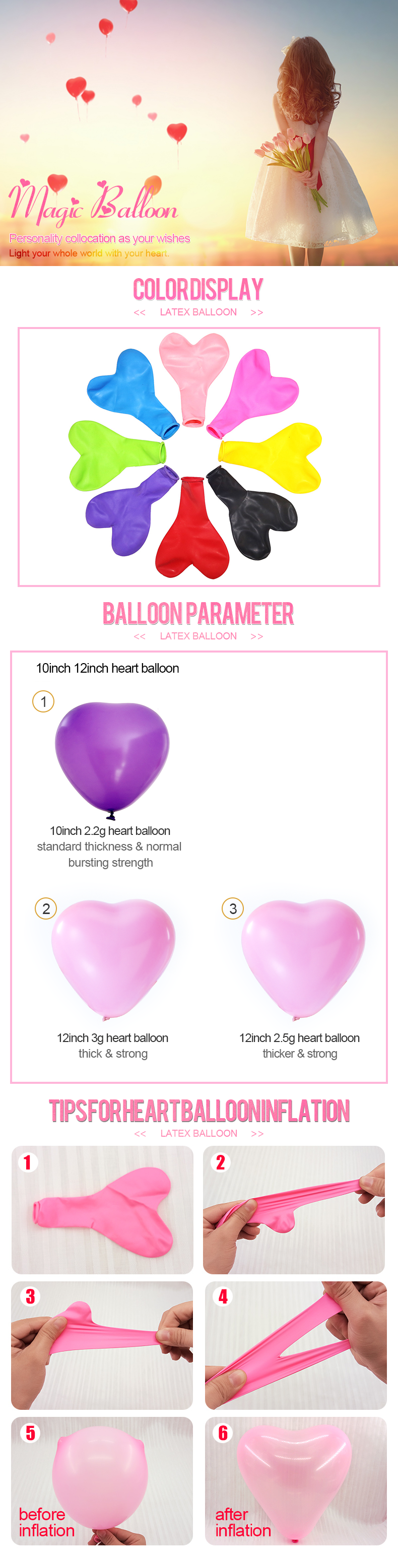 Romantic heart shaped love balloons for wedding party decoration Valentine's Day wholesale
