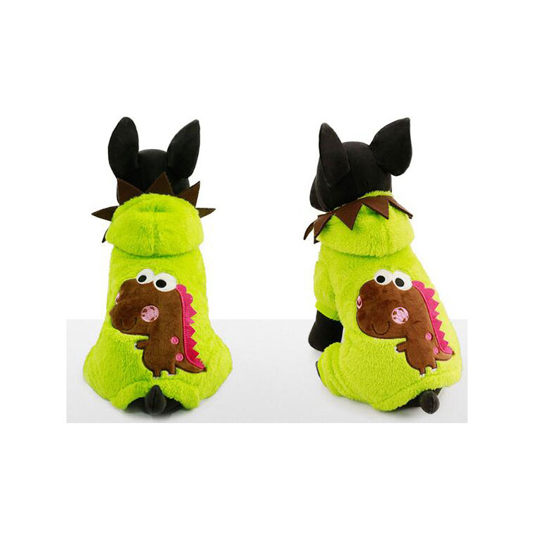 2017 Newest Lovable Dinosaur Patterns Pink Green Fleece Warm Winter Pet Dog Outwears Clothes