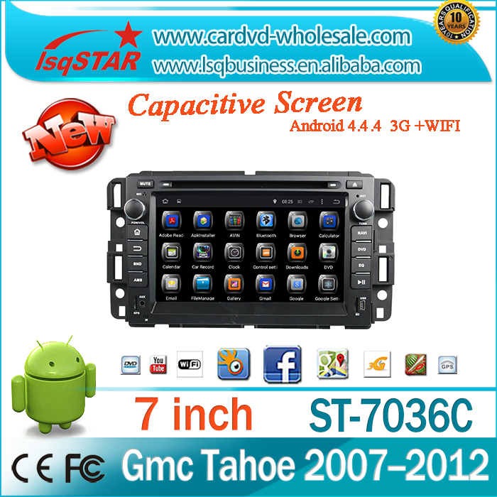 Android 4.4 Car DVD radio with Quad-core steering wheel control GPS 3G Wifi mirroe link OBD TPMS for GMC Yukon/Tahoe 2007--2012