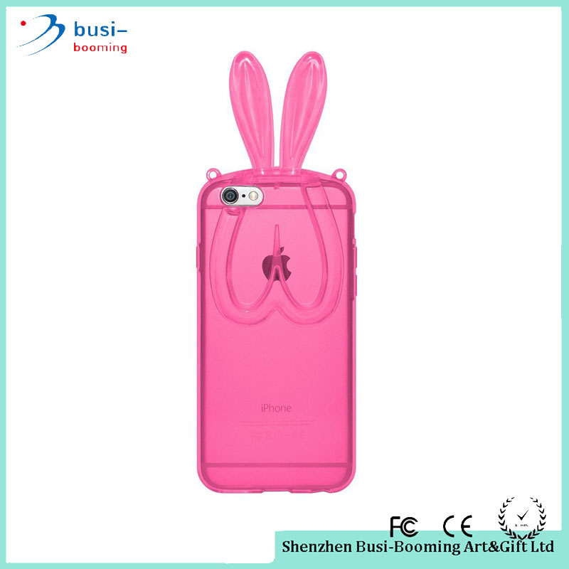 2015 Hot In Stock Stand Gel Cover TPU Silicone Case 3D Rabbit Ears Cute Skin Case Silicone Case For Iphone6