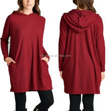Women Blouses New Designs Super Cozy Tunic Slouchy Nifty Burgundy Hooded Tunic Office Uniform Designs For Women Blouses