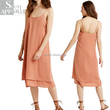 Custom women dresses wholesale clothing manufacturers overseas ladies boutique sexy club summer slim strappy layered slip dress