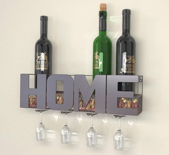 HOME Wall Mounted Metal Wine Rack with 4 Long Stem Glass Holder