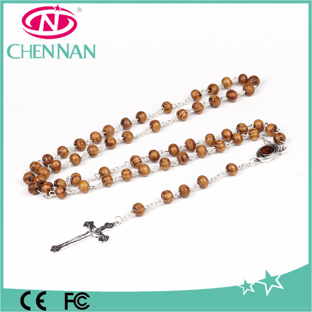 yiwu whoslae charm wooden rosary chaplet cross rosary necklace 59pcs