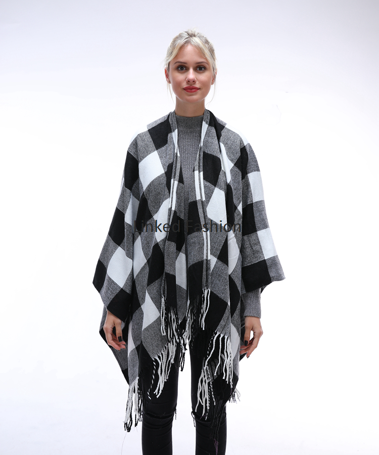 Stocked Blanket Scarf Fringe Buffalo Plaid Poncho 2019 with red black color