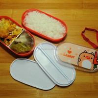 Oval double layer cartoon plastic school lunch box for kids