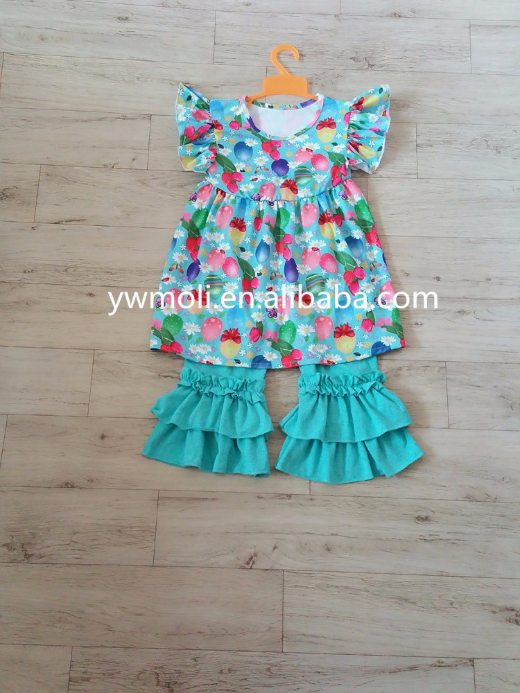 2017summer new designs eggs patterns short flutter sleeve dress and ruffle pants set baby clothes 1 set