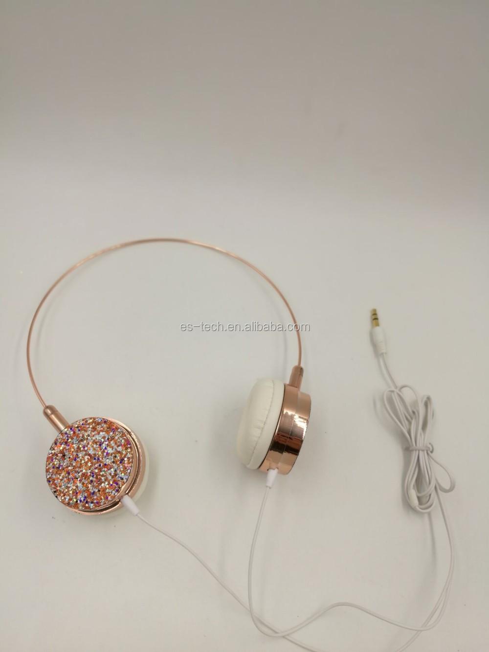 2017 Rose Gold Wired Cat Headphones Headset Glitter Headphone - Buy ...