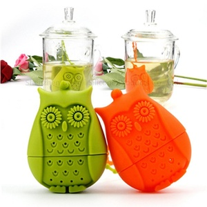 Reusable owl shaped silicone tea infuser strainer for tea bag