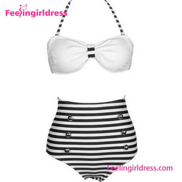High Waist Tankini Striped Paded Bikini Sexy Transparent Bathing Suits