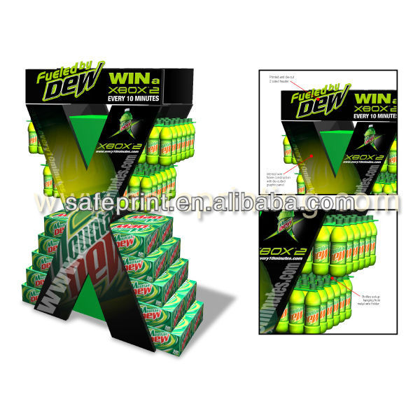 mountain dew xbox promotion rack custom wiskey alcohol beverage retail shelf corrugated cardboard floor stand display