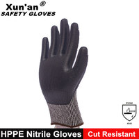 Foam nitrile coated hppe cut proof gloves protective gloves cutting glass