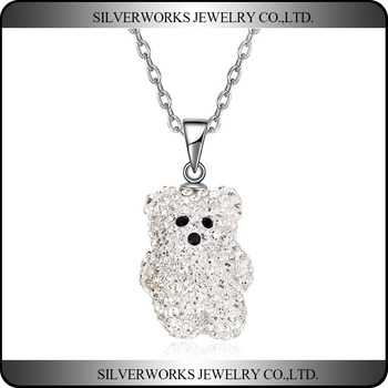 Lovely Little White Bear Design S925 Silver Pendant Full Crystals For Girls