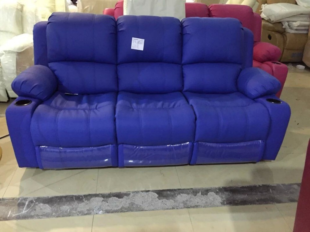 Blue color microfiber leather recliner sofa lazy boy for Blue leather reclining sofa