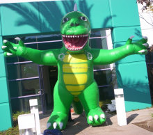 Inflatable 12ft dino inflatable green&yellow for sale,inflatable replica for sale