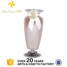 Cheap price glass vase boutique vase with metal base for wedding decoration
